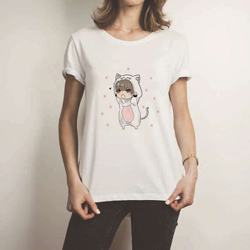 Hot Sale Sweet Harajuku Vintage UlzzangWhite T Shirt Women Casual Kawaii Cute The Cat Boy Printed Tee Tops Femme T Shirt