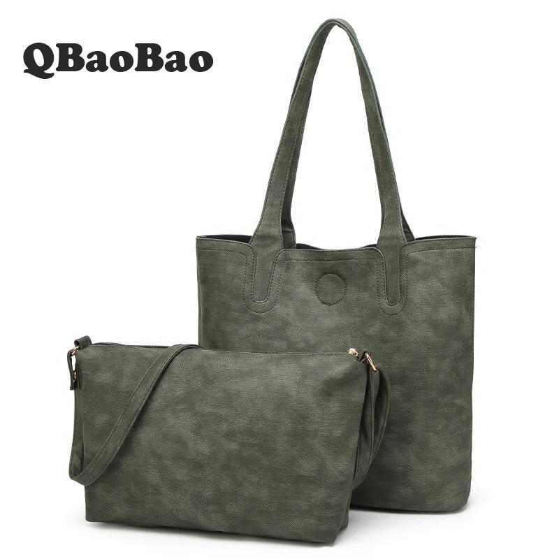 Qbaobao Big Shopping Composite Bag Set Women Fashion Women Hand Bag Black Shoulder Simple New 2017 Tote Bag