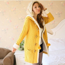 2017 New Winter Women Sweater coat Long sleeve Single Breasted  Sweater Warm Slim Sweater Casual Hooded Knitted Cardigan