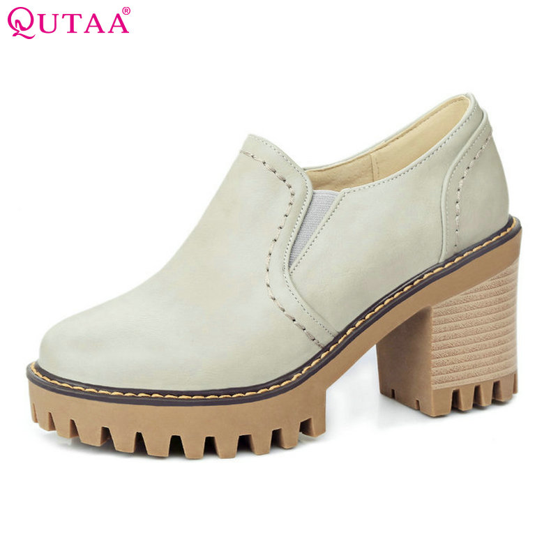 QUTAA 2018 Women Pumps Spring Ladies Shoes Western Style Square High Heel PU leather Slip On Woman Wedding Shoes Size 34-43 стоимость