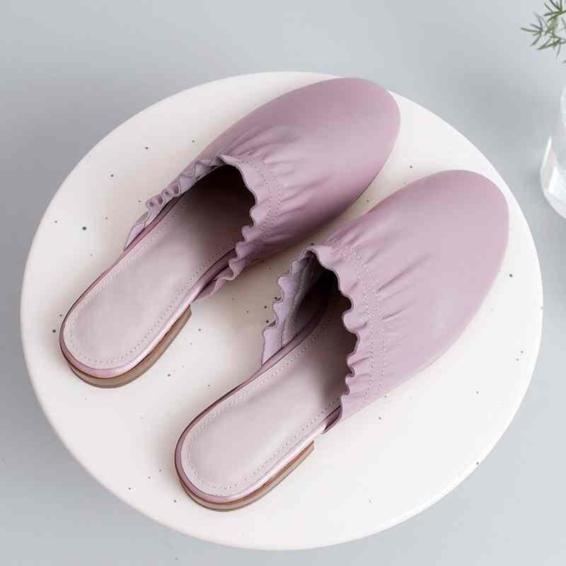 Fée Couleur D'été Marque apricot Ruches Femmes Slip Solide Pleine Beige Pink Chaussures Fleur Pot Dentelle Pantoufles noir Cuir Krazing L31 Dehors jaune purple En Mules Sur BYqOnawXC