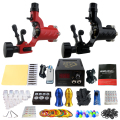 Solong Tattoo Pro Tattoo Kit 2 Rorary Tattoo Machine Gun Power Supply 1 Practice Skin Dual-sided Re-usable One Set TK202-16