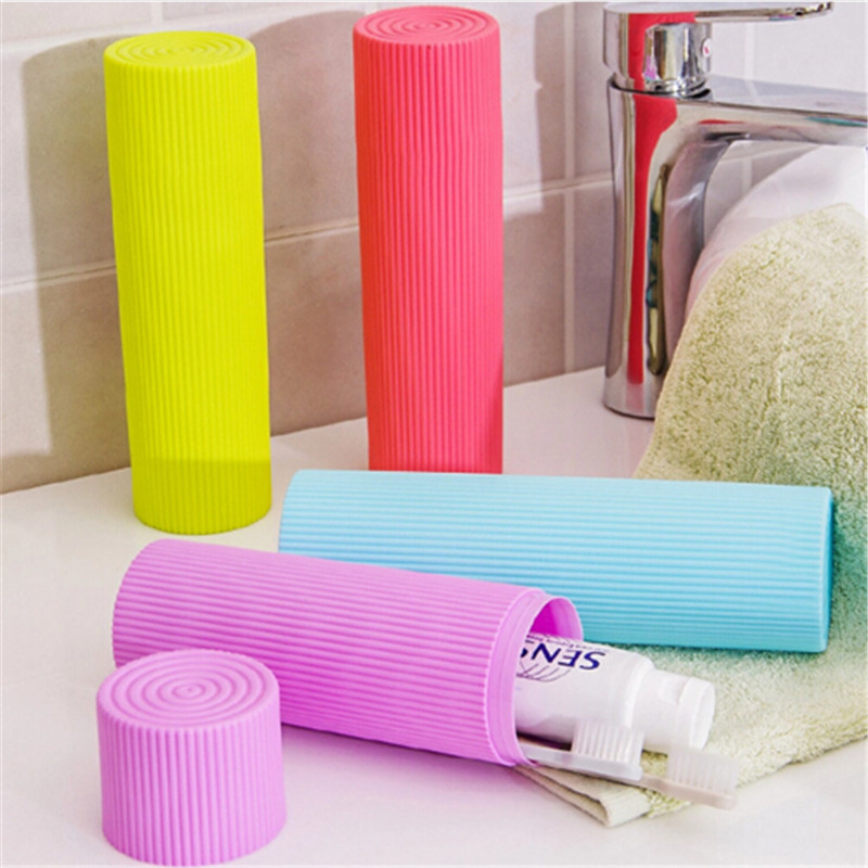 1PC Plastic Stripe Traveling Portable Storage Box Toothpaste/Toothbrush/Pen Stationery Holder Cover Case Cylindrical Box