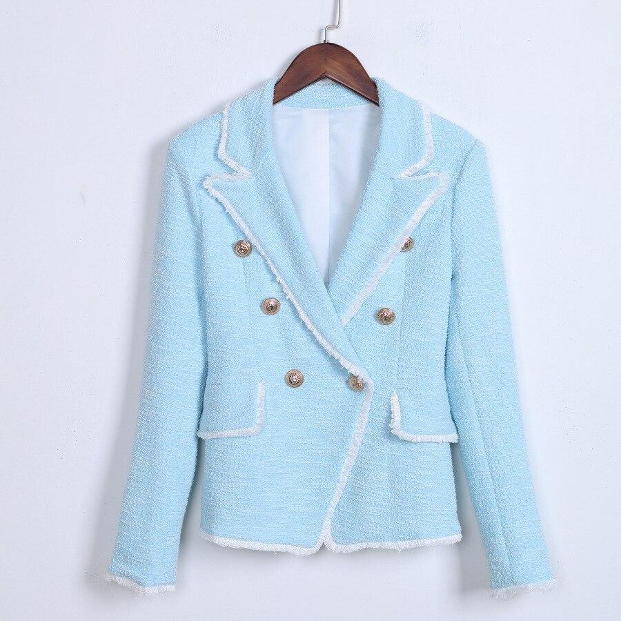 Mode Boutons Lion Veste Et Frange Blazer Nouvelle Manteau Clair Bleu Costumes Tweed De Breasted Blazers Double Gland 2019 Femmes gHwxqPdxv