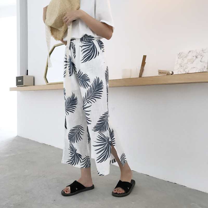 Women 2018 Summer Fashion Wide Leg   Pants     Capris   Print Split Loose Casual   Pants   Ladies Ankle Length Holiday Beach Trousers   Pants