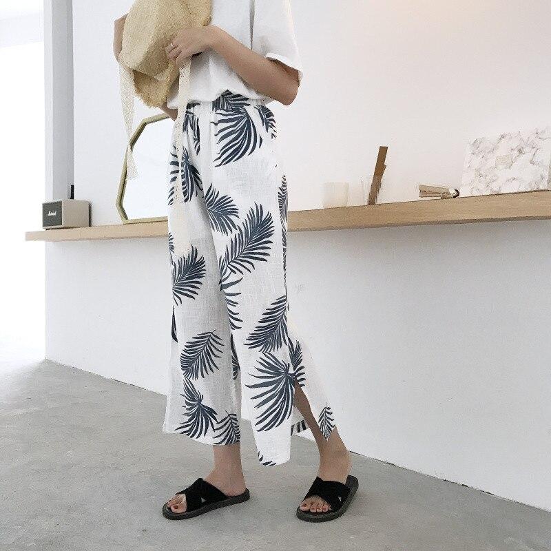 Women 2018 Summer Fashion Wide Leg   Pants     Capris   Print Split Loose Casual   Pants   Ladies Ankle Length Holiday Beach Trousers   Pants