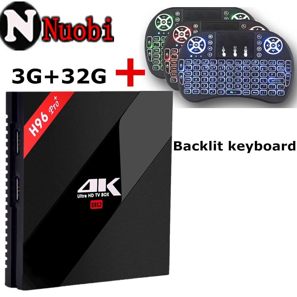 Prix pour H96 PRO Android 6.0 TV Box Amlogic S912 Octa Core 3G/32G WiFi 2.4G/5.8G H.265 BT4.1 KODI 16.1 H.265 4 K Lecteur plus Mini clavier