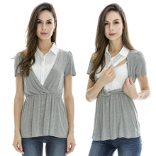 Nursing Tops Fake two-piece New V-neck  Maternity Clothes Breastfeeding Tops for Pregnant