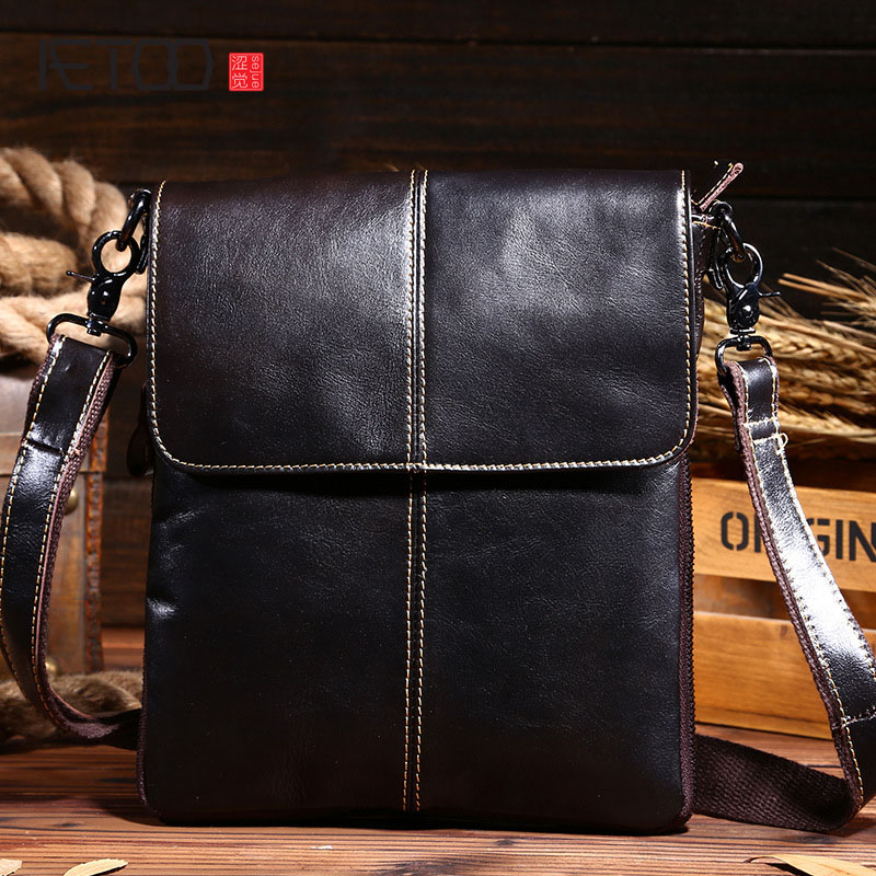 AETOO new oil wax genuine leather bag men handbag business Shoulder bags vintage crazy horse genuine leather messenger bags men new men s crazy horse genuine leather messenger shoulder pack documents business portable clutch bag portable wrist bag