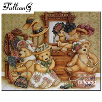 FULLCANG 5d Diamond Painting Cross Stitch Diy Diamond Embroidery Lovely Bear Doll Mosaic Rhinestones Full Square