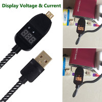 25cm LED Display Charge Voltage Current Protector Mirco USB Cable For LG Samsung Huawei Xiaomi Android