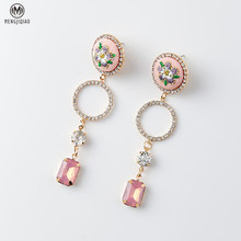 Korean Vintage Embroidery Flower Earrings Brincos Rhinestone Circle Square Pendant Boucle D'oreille Femme 2017 Earring(China)