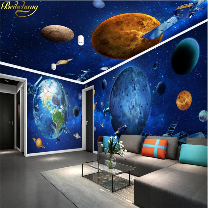beibehang Custom Cosmic Galaxy Earth 3D Wallpapers for Wall Paper Vintage Decorative mural Painting living room