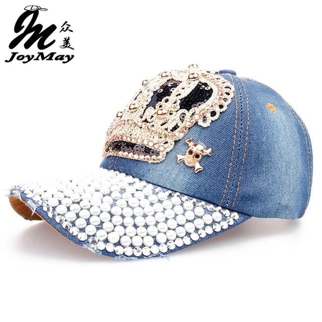 Atacado de alta qualidade Cap Hat Retail joymay Lazer Moda Pedrinhas Crown Vintage Algodão CAPS Boné de Beisebol Unisex B010