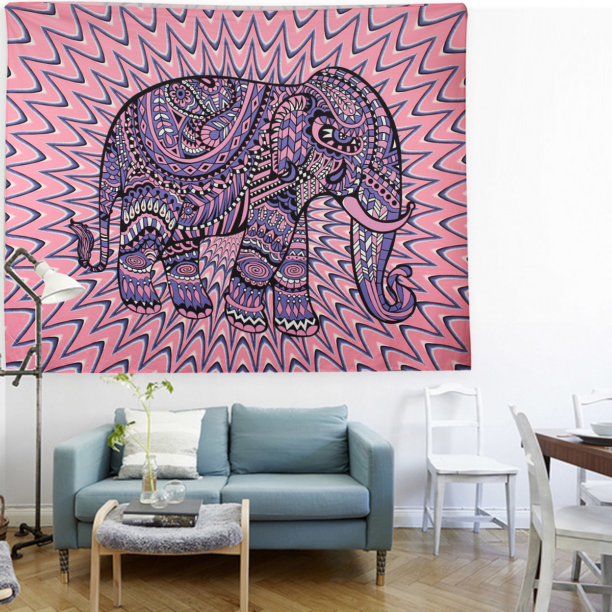 Elephant Mandala Tapestry Throw Towel Hippie Tapestry Floral Printed Home Decor Wall Tapestries Bedspread 210*150CM 16