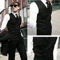 Custom Made Мода Двойной Брестед Черный Жилет И Тонкий Черные Брюки Смокинги Groom Дружки Костюм Вечер полотна (брюки + жилет + галстук)