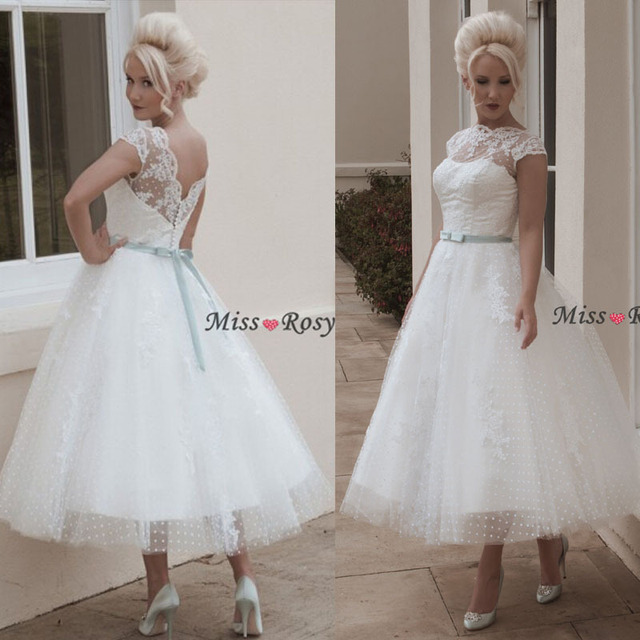 Custom Made Boat Neck Cap Sleeve Tulle Tea Length Vintage Lace Short Wedding Dresses