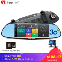 Junsun 7 Android 3G Car GPS Camera DVR Free 16GB SD Card Bluetooth Dual Lens Rearview