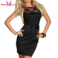 Women's Fashion OL Office Work Bodycon Belt Decorative Lace Fence Sexy Dresses Sexy Club Dress