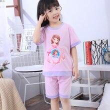 Купить с кэшбэком Summer Girls Sleepwear 2019 New Pajamas Suit for Children Cute Kids Nightwear Princess Loungewear Set Baby Girls Pajamas Set