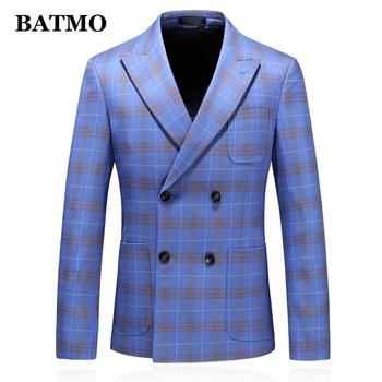 BATMO 2019 new arrival autumn high quality double breasted plaid blazer men,men's plaid wedding dress,plus-size S-5XL  XZ6035