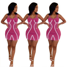 Fashion Neon Reflective Strip Bodycon Dress Women 2019 Summer Club Party Dresses Ladies Sexy Spaghetti Strap Mini Bandage