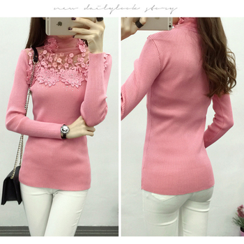 High Elastic Knitted Sweater Women Spring Autumn Lace Patchwork Long Sleeve Women Sweaters And Pullovers Female Pull Femme Women Outerwear & Accessories