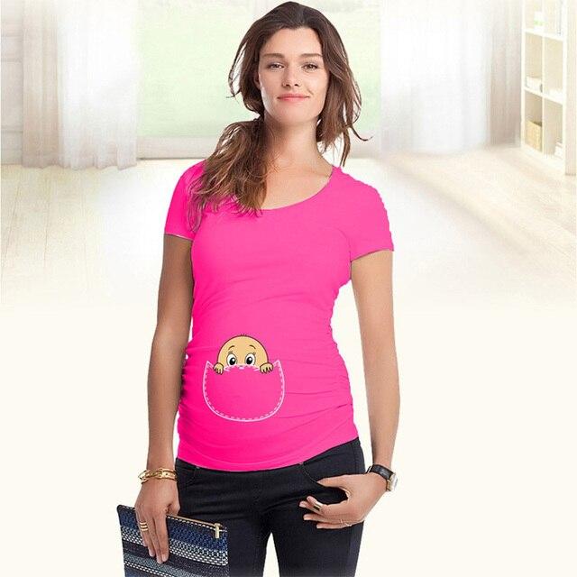 Смешно топы материнства футболки с ребенком выглянуло мягкого хлопка беременность рубашки с коротким рукавом для беременных женщин