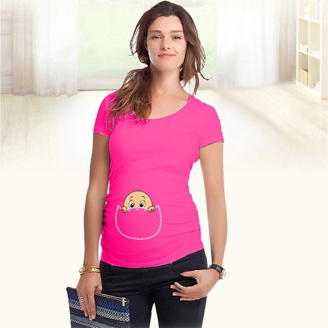 Divertido de la maternidad tops camisetas con el bebé que asoma de algodón suave camisetas embarazo de manga corta tops para las mujeres embarazadas