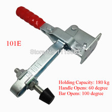 5PCS  Long U Bar Flanged Base Straight Handle Vertical Toggle Clamp 101E Holding Capacity 180KG 397LBS