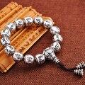 Tibetan 925 Silver OM Mantra Beads Bracelet Thai silver jewelry handmade silver Bangles