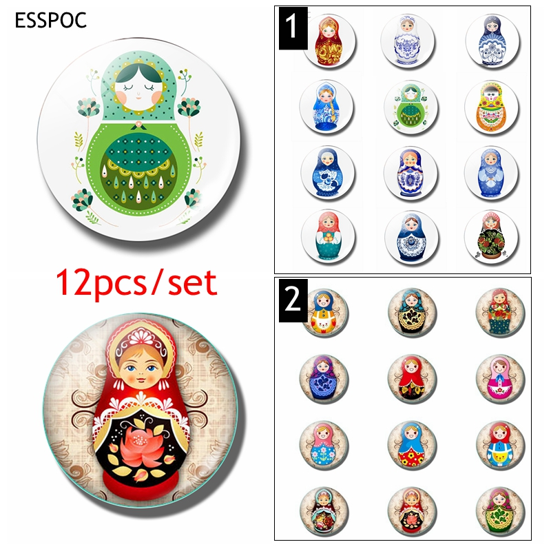 12pcs Russian Sleeve Doll Fridge Magnet Set 25MM Glass Dome Magnetic Refrigerator Sticker Cute Cartoon Memo Home Decor