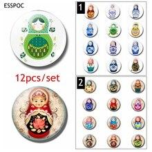 12pcs Russian Sleeve Doll Fridge Magnet Set 25MM Glass Dome Magnetic Refrigerator Sticker Cute Cartoon Memo Home Decor