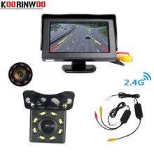 Koorinwoo Wireless Adopter Monitor Dell'automobile Dello Schermo di 800*480 Auto Videocamera vista posteriore Inversione di Sostegno Sensore di Visione Notturna Luci A Infrarossi