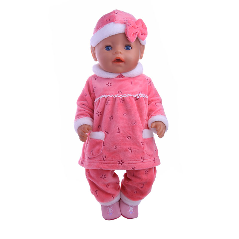 3pcs Pajamas=Hat+Coat+Pants Doll Clothes Wear Fit 43cm Baby Born zapf Doll,Children best Birthday Gift AT1233 2color choose leisure dress doll clothes wear fit 43cm baby born zapf children best birthday gift only sell clothes