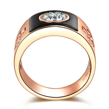 ZOCAI BRAND NATURAL 1.22 CT CERTIFIED H / VS DIAMOND MEN'S WEDDING BAND RING ROUND CUT 18K ROSE GOLD WITH BLACK AGATE