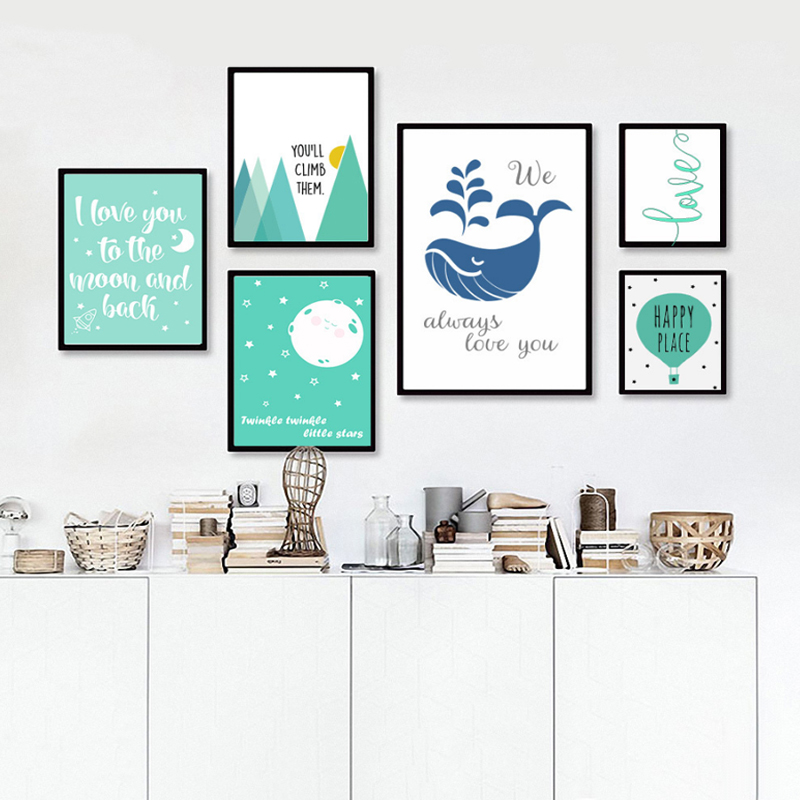 Nursery Cartoon Oil Painting Posters, Nursery Quotes Canvas Art Digital Wall  Art, Canvas Painting