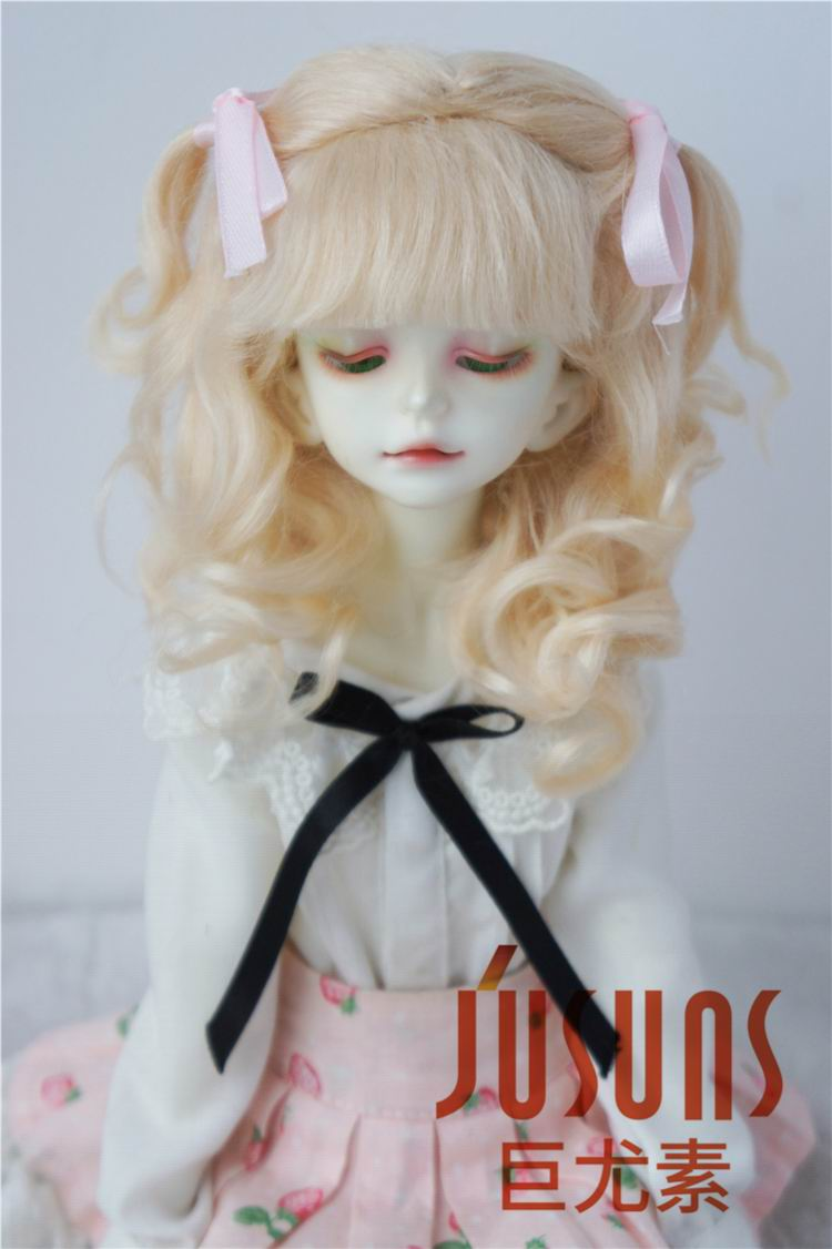 JD187 1/4 1/3 MSD SD Fashion mohair doll wigs  Long soft wave with 2 pony wigs size 7-8inch 8-9inch doll hair doll accessories 1 3 1 4 1 6 1 8 1 12 bjd wigs fashion light gray fur wig bjd sd short wig for diy dollfie