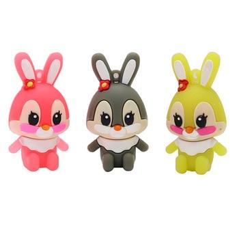 цена на Pendrive real capacity usb flash drive 4GB 8GB 16GB 32GB 64G cartoon cute rabbits memory stick creative gift pen drive usb stick