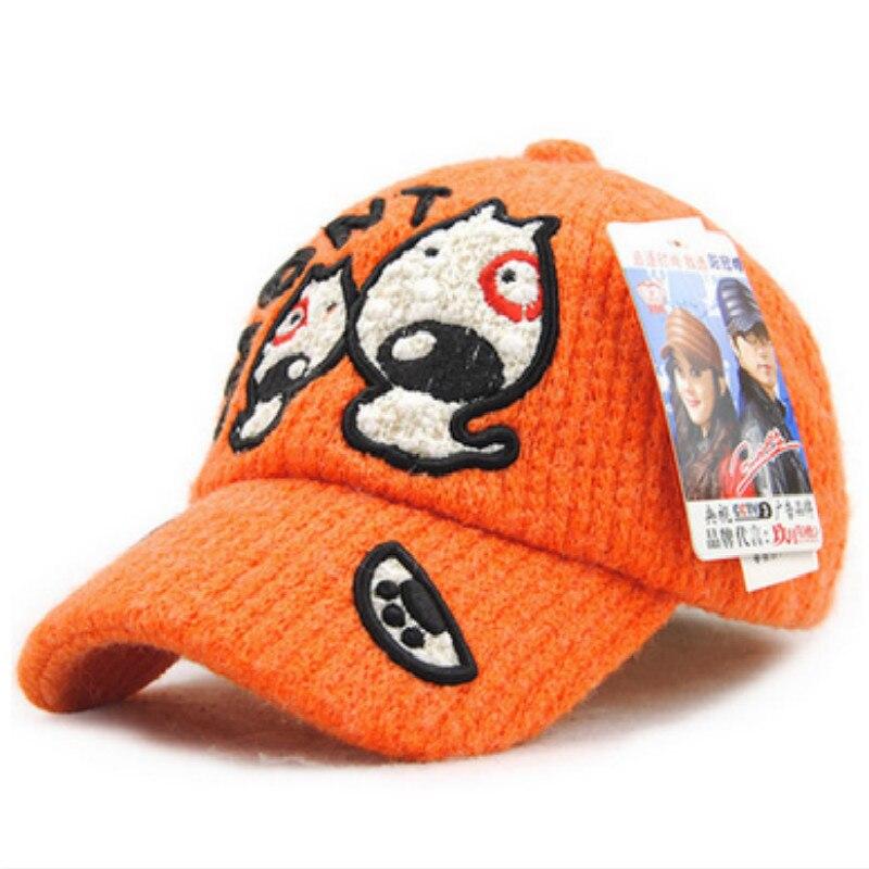 Jamont orange tebal hangat rajutan lucu kartun musim dingin snapback  baseball topi untuk bayi perempuan anak d2dea8fc68