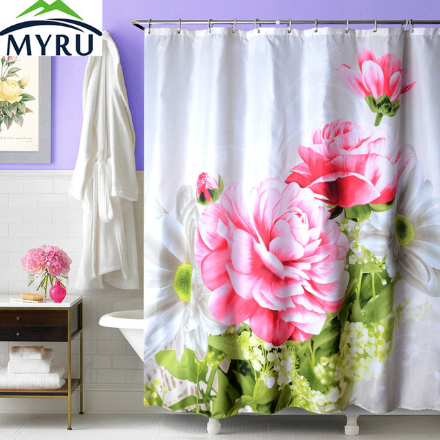 MYRU Modern Bathroom Shower Curtain Peony Shower Curtain Polyester