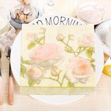 20Pcs/Pack Hot Sale Pink Rose Flowers Paper Napkins Cafe &am