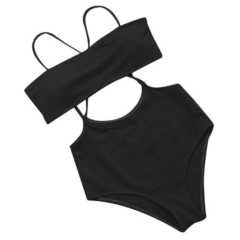 Comfortable Sexy Underwear Women's Texture Push-Ups Beachwear Suit Female Halter Bandage Monokini