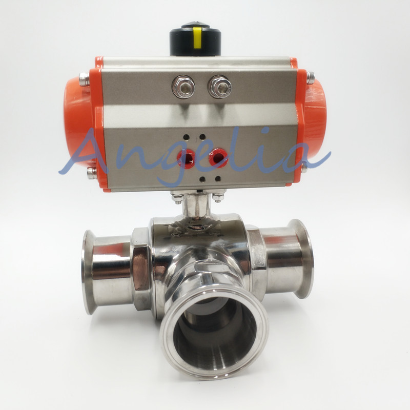 1-1/2 Sanitary Stainless 304 Three way T-port Tri-Clamp Pneumatic Ball Valve 1 1 2 dn32 sanitary stainless steel ball valve 3 way 316 quick installed food grade pneumatic valve double acting t port valve