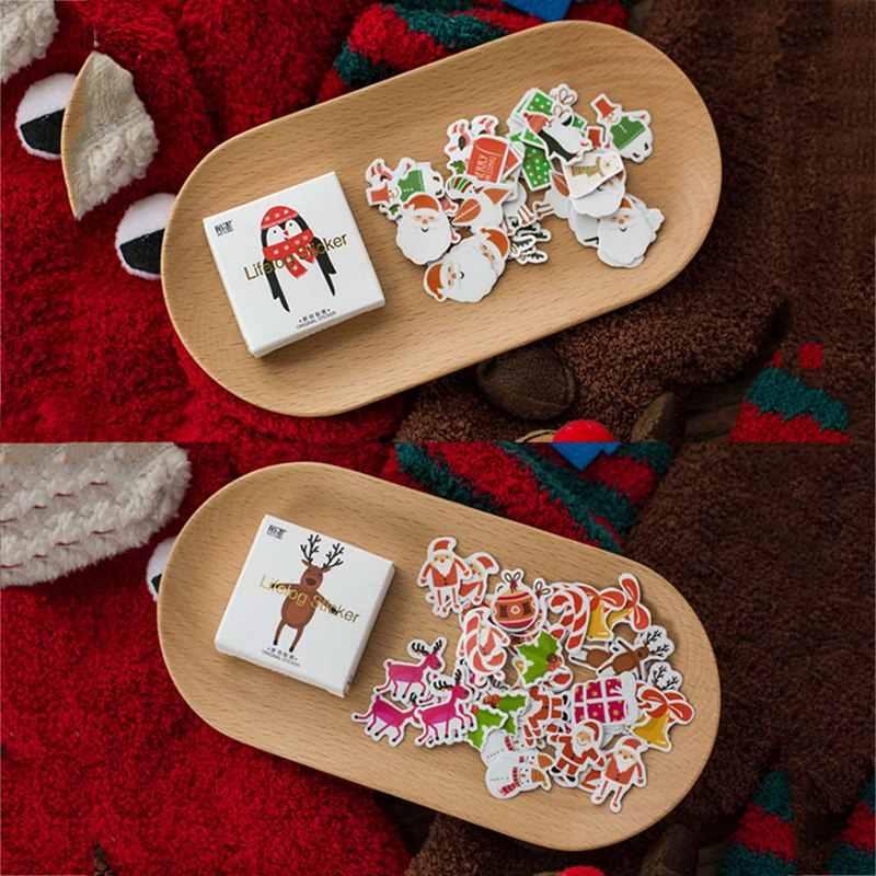 50 unids/caja lindo Mini pegatina de papel adhesivo de Navidad árbol de Navidad Elk decoración DIY tarjeta Scrapbooking pegatinas de papelería