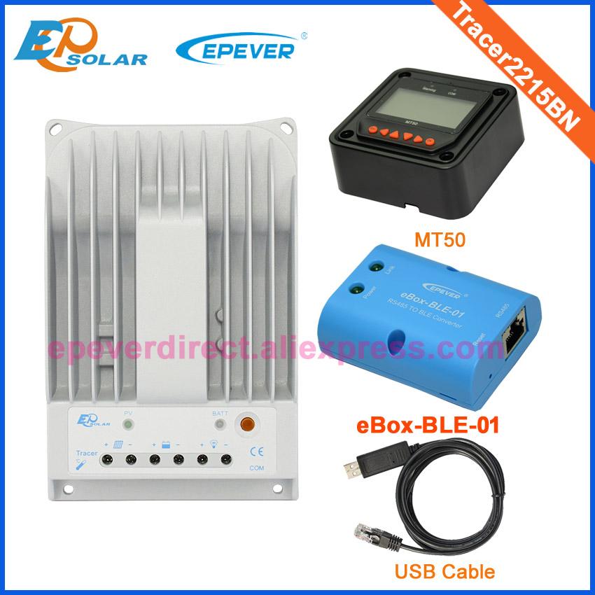 купить MPPT solar panel charge controller with MT50 remote meter 20A Tracer2215BN USB cable computer connect and BLE function по цене 5855.06 рублей