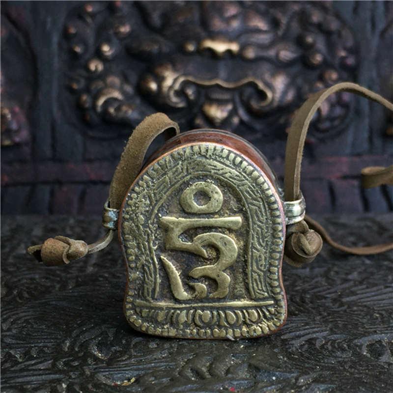 TGB221 Tibet Vieux Laiton Tour Boîte de Prière Tibet GAU Amulettes Tibétain artisanat OM