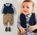 Горячая распродажа мальчик одежды комплект джентльмен костюм малыша брюки мальчиков комплект одежды с длинным рукавом дети мальчик комплект одежды на день рождения наряды