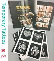 80 Nieuwe Ontwerpen Tijdelijke Airbrush Festival Art Herbruikbare Tattoo Stencil Airbrush stencils Template Boekje