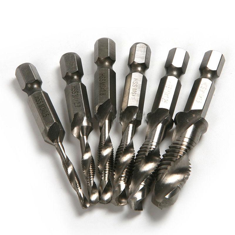 HSS Metric Screw Threads Tap Drill Bits Set Kit 6 PCS M3-M10 1//4 Hex Shank New